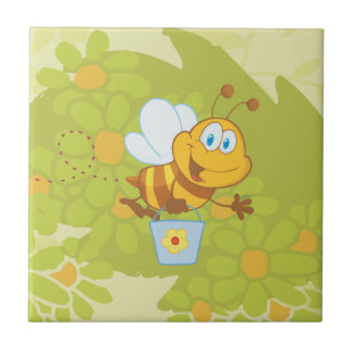 Bumble Bee Flying And Holding A Gardening Bucket Ceramic Tile
