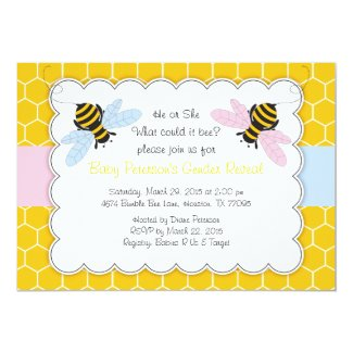 Bumble Bee Gender Reveal Baby Shower Invitation