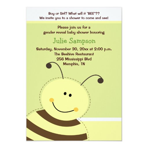 Bumble Bee Gender Reveal Baby Shower Invite 5x7