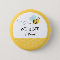 Bumble Bee Gender Reveal Blue Button