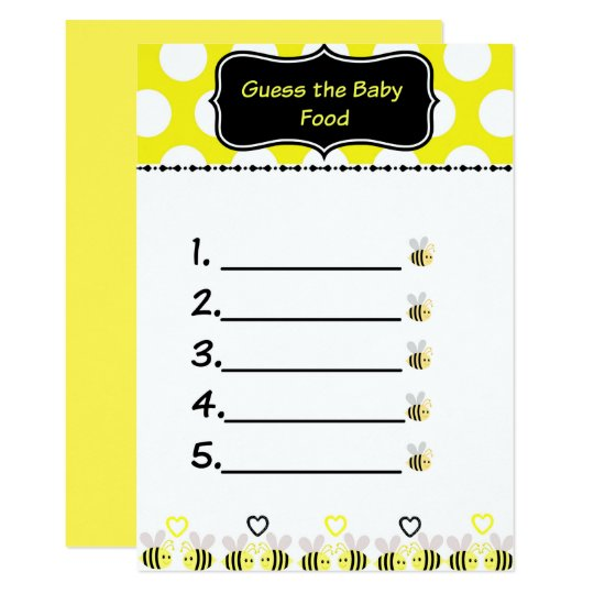 Bumble Bee Guess The Baby Food Baby Shower Game Invitation Zazzlecom