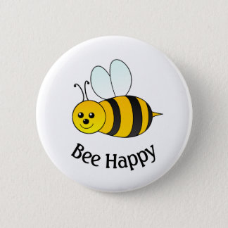 Bumble Bee Happy Pinback Button