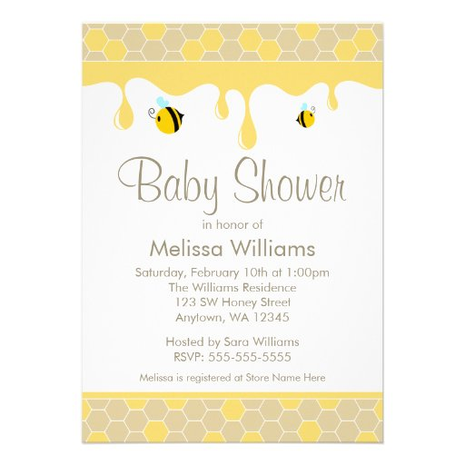 bumble bee honey baby shower invitations 5 x 7 invitation card