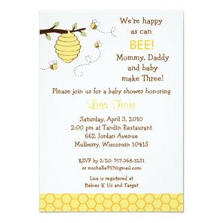 "Bumble Bee Honeycomb Baby Shower Invitations 5"" X 7"" Invitation Card"
