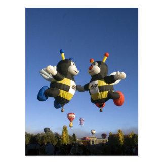 Bumble bee hot air balloons Post card