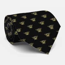 Bumble Bee in Gold Your Background Color Neck Tie