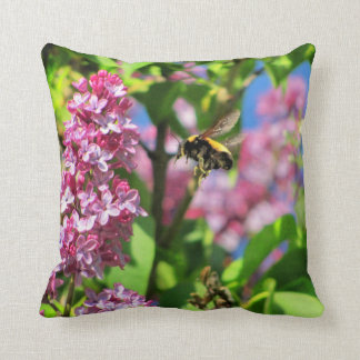 Bumble Bee Landng on Lilacs Pillow