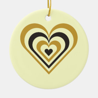 Bumble Bee Layered Heart Ceramic Ornament