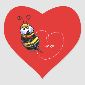 Bumble Bee Mine Personalized Heart Sticker