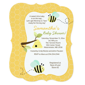Bumble Bee Mint Green Gender Neutral Invitation