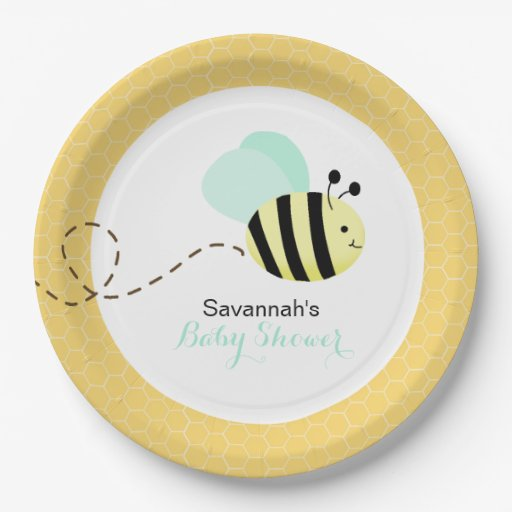 Bumble Bee Mint Green Wings Custom Paper Plate #2