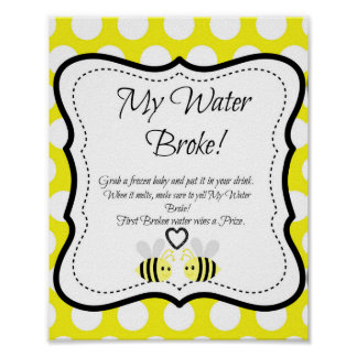 Bumble Bee My Water Broke! Baby Shower Game Poster
