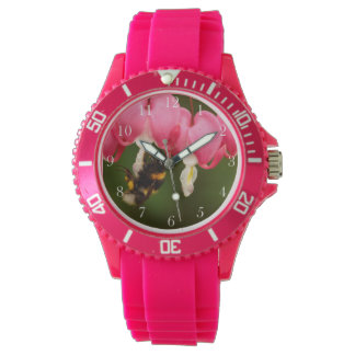 Bumble Bee on Bleeding Hearts Pink Women's Watch