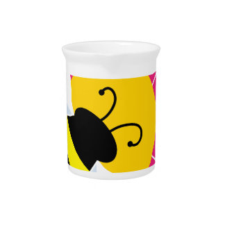 Bumble Bee on Flower Beverage Pitcher