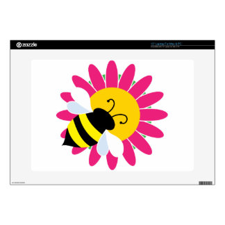"Bumble Bee on Flower Decals For 15"" Laptops"