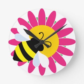Bumble Bee on Flower Round Clock