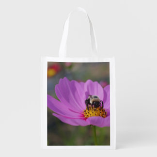 Bumble Bee On Pink Cosmos Flower Market Totes