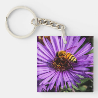 Bumble Bee on Purple Aster Flower Square Acrylic Keychain