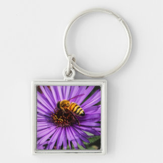 Bumble Bee on Purple Aster Flower Keychains