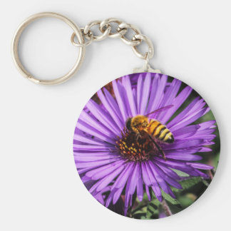 Bumble Bee on Purple Aster Flower Key Chain