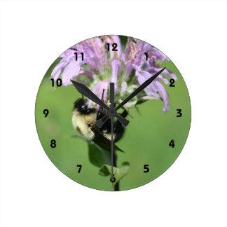 Bumble Bee On Purple Bee Balm Flower Round Clock
