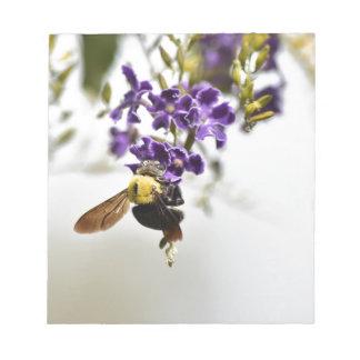 BUMBLE BEE ON PURPLE FLOWERS AUSTRALIA NOTEPAD
