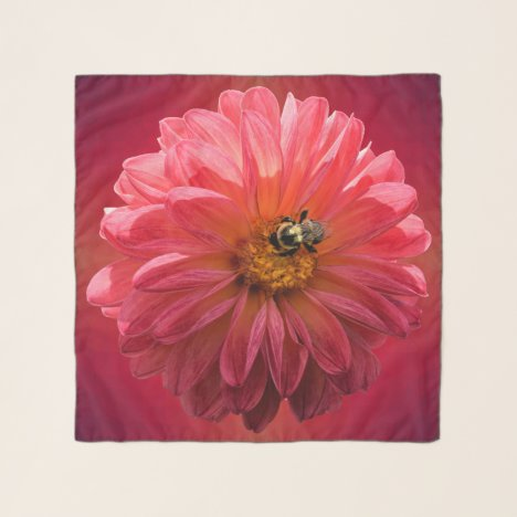 Bumble Bee on Red Dahlia Square Chiffon Scarf