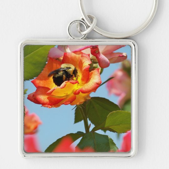 Bumble Bee on rose Keychain