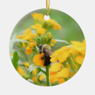 Bumble Bee On Siberian Wallflower Christmas Ornaments