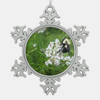 Bumble Bee on White Flowers Ornaments