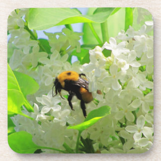 Bumble Bee on White Lilacs Drink Coaster