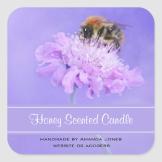 Bumble Bee Perched on a Pink Flower Candle Square Sticker