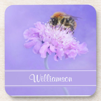Bumble Bee Perched on a Pink Flower Personalized Coaster