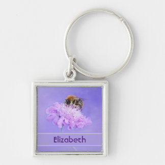 Bumble Bee Perched on a Pink Flower Personalized Keychain