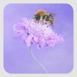 Bumble Bee Perched on a Pink Flower Square Sticker
