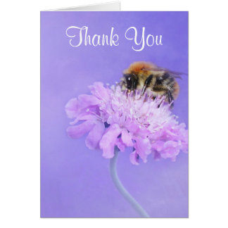 Bumble Bee Perched on a Pink Flower Thank You Card