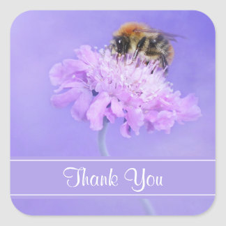 Bumble Bee Perched on a Pink Flower Thank You Square Sticker