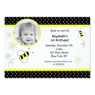 "Bumble Bee Photo Birthday invitations 5"" X 7"" Invitation Card"