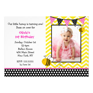 Bumble Bee Photo Birthday Party Invitations