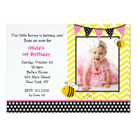 Bumble Bee Photo Birthday Party Invitations 5