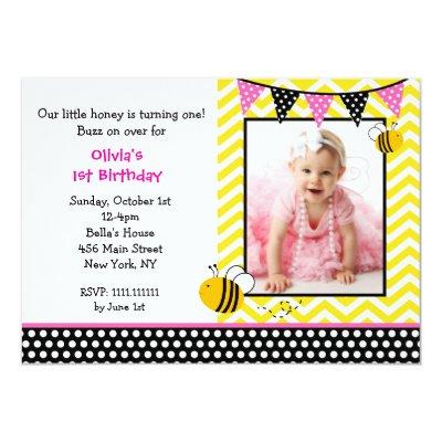 Baby bee birthday party invitation zazzle filmwisefo Images