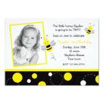 "Bumble Bee Photo Birthday Party Invitations 5"" X 7"" Invitation Card"