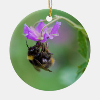 Bumble Bee Photo Ceramic Ornament