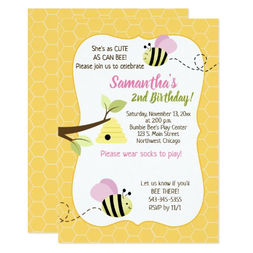 Bumble Bee Pink Girl Any Age Birthday Card