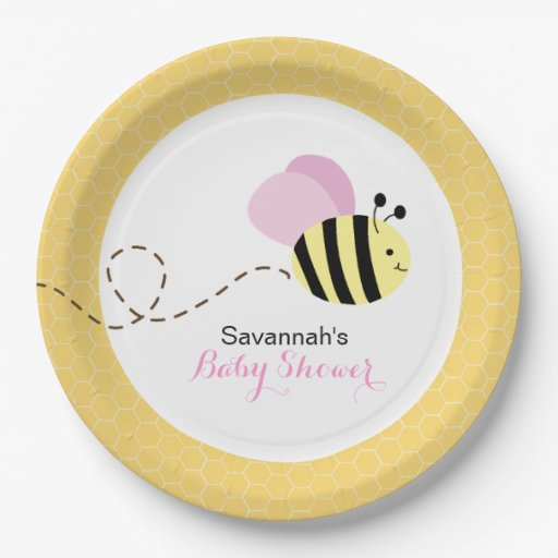 Bumble Bee Pink Wings Custom Paper Plate