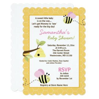 Bumble Bee Pink Wings Die Cut Baby Shower Invite