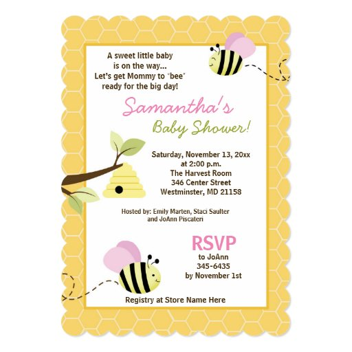 Bumble Bee Pink Wings Die Cut Baby Shower Invite