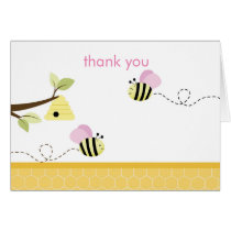 Bumble Bee Pink Wings Folded Thank you Note Card
