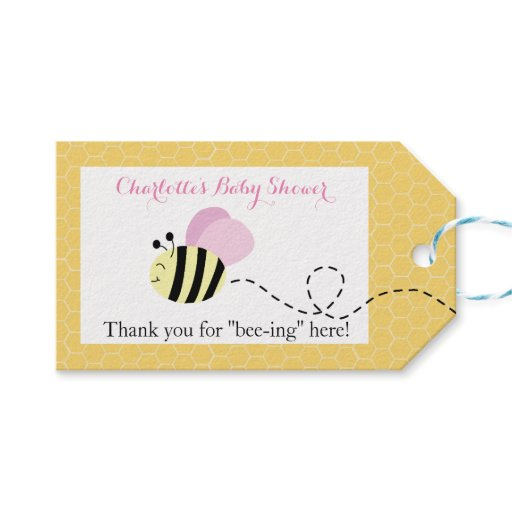 Bumble Bee Pink Wings Gift Tags