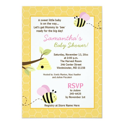 Bumble Bee Pink Wings Girl Baby Shower Invitation